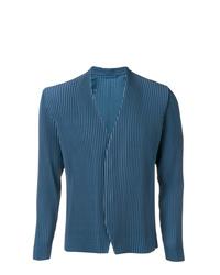 Blazer à rayures verticales bleu marine Pleats Please By Issey Miyake