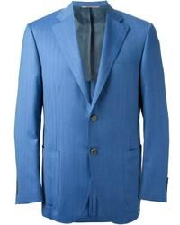 Blazer à rayures verticales bleu Canali