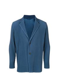 Blazer à rayures verticales bleu Homme Plissé Issey Miyake