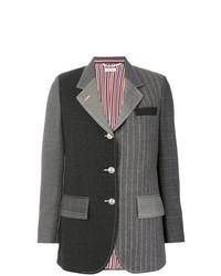 Blazer à rayures verticales gris foncé Thom Browne