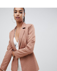 Blazer à rayures verticales marron clair Missguided