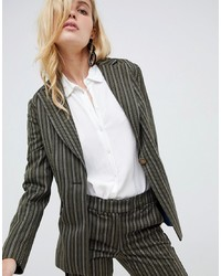 Blazer à rayures verticales olive Sisley