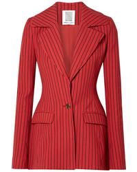 Blazer à rayures verticales rouge Rosie Assoulin