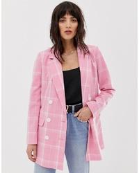 Blazer croisé à carreaux rose Vero Moda