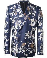 Blazer croisé à fleurs bleu Dolce & Gabbana