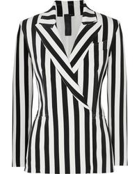 Blazer croisé à rayures verticales blanc et noir Norma Kamali