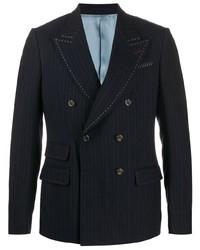 Blazer croisé à rayures verticales bleu marine Gucci