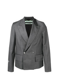Blazer croisé à rayures verticales gris Off-White