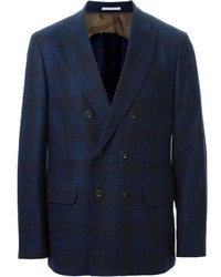 Blazer croisé écossais bleu Brunello Cucinelli