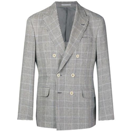 Blazer croisé écossais gris Brunello Cucinelli
