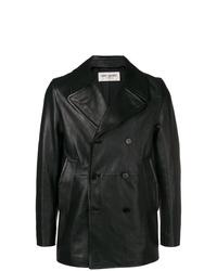 Blazer croisé en cuir noir Saint Laurent