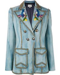 Blazer croisé en denim bleu clair Gucci