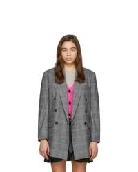 Blazer croisé en laine à carreaux gris Isabel Marant Etoile