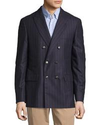 Blazer croisé en laine à rayures verticales bleu marine