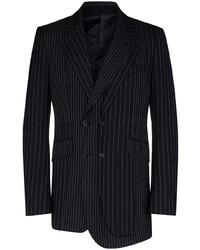 Blazer croisé en laine à rayures verticales bleu marine Alexander McQueen