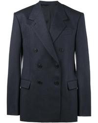 Blazer croisé en laine à rayures verticales bleu marine Balenciaga
