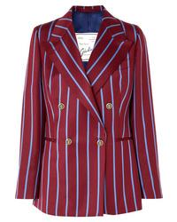Blazer croisé en laine à rayures verticales bordeaux Giuliva Heritage Collection