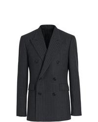 Blazer croisé en laine à rayures verticales gris foncé Burberry