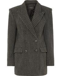 Blazer croisé en laine à rayures verticales gris foncé Isabel Marant