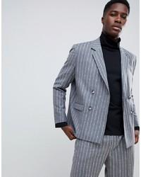 Blazer croisé en laine à rayures verticales gris