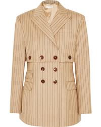 Blazer croisé en laine à rayures verticales marron clair Altuzarra
