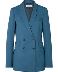 Blazer croisé en laine bleu canard Gabriela Hearst