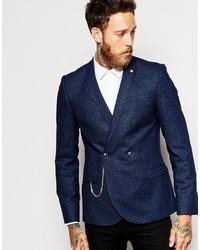Blazer croisé en laine bleu marine
