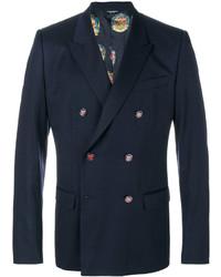Blazer croisé en laine bleu marine Dolce & Gabbana