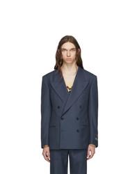 Blazer croisé en laine bleu marine Gucci
