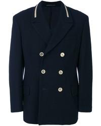 Blazer croisé en laine bleu marine Yohji Yamamoto Pre-Owned