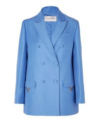 Blazer croisé en laine bleu Valentino