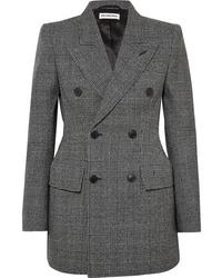 Blazer croisé en laine gris foncé Balenciaga