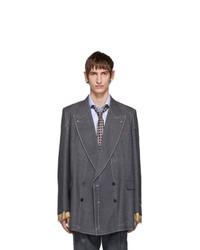 Blazer croisé en laine gris foncé Gucci