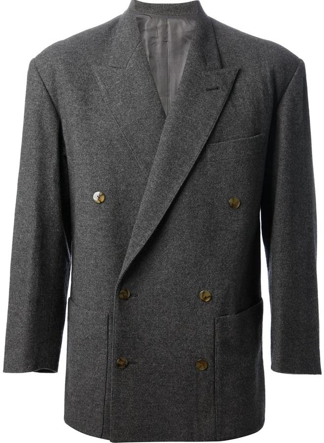 Blazer croisé en laine gris foncé Jean Paul Gaultier