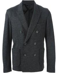 Blazer croisé en laine gris foncé Lanvin