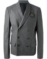 Blazer croisé en laine gris