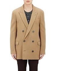 Blazer croisé en laine marron clair