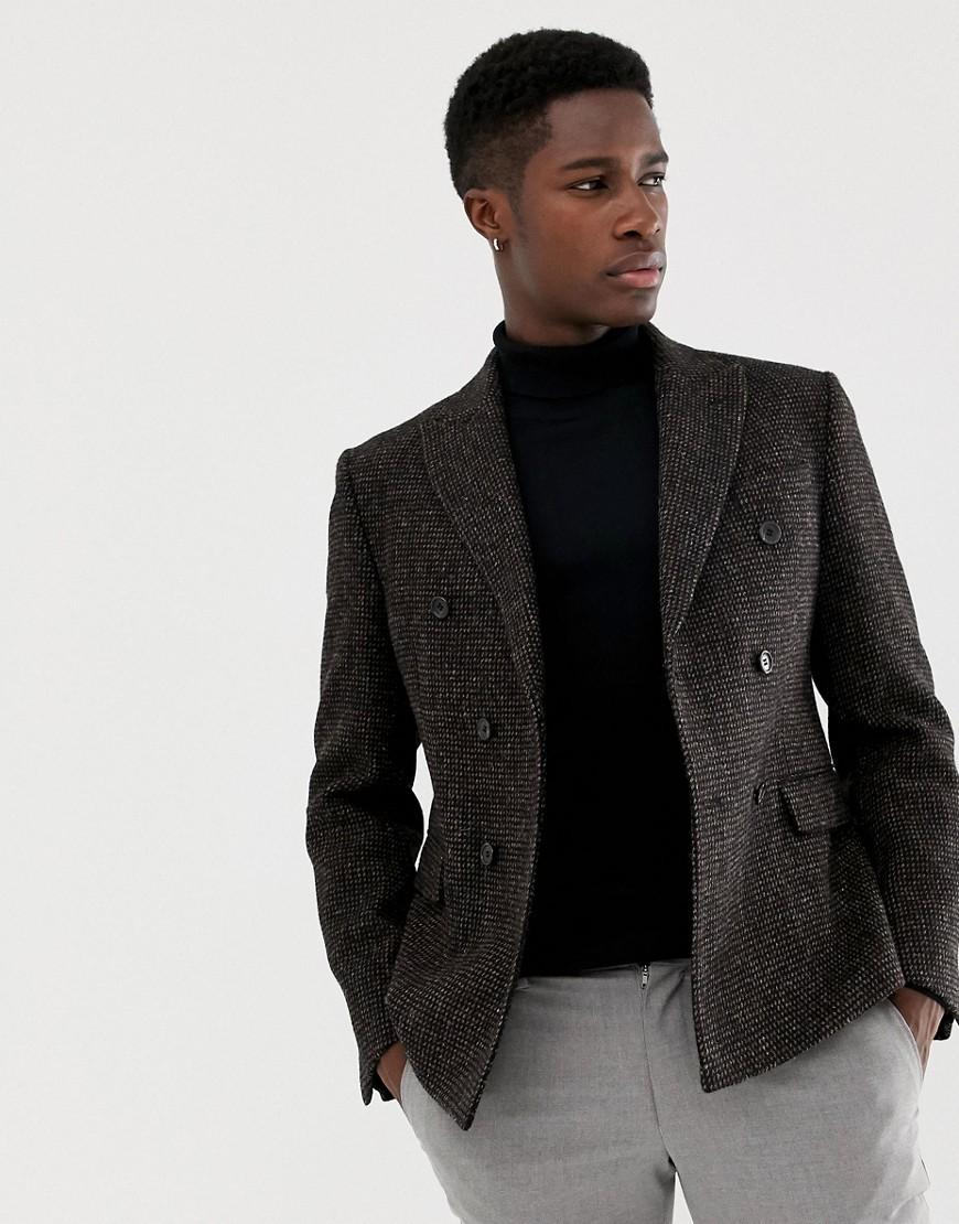 Blazer croisé en laine marron foncé ASOS DESIGN