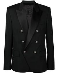 Blazer croisé en laine noir Balmain