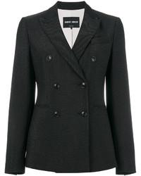 Blazer croisé en laine noir Giorgio Armani