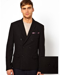Blazer croisé en laine noir Selected
