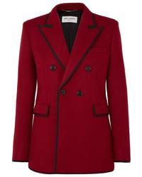 Blazer croisé en laine rouge Saint Laurent