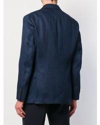 Blazer croisé en lin bleu marine Brunello Cucinelli