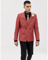 Blazer croisé en lin rouge Twisted Tailor