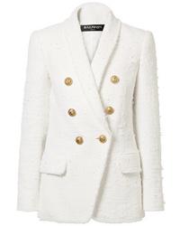 Blazer croisé en tweed blanc Balmain