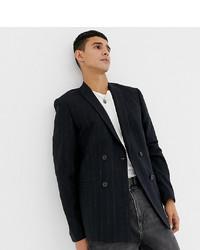 Blazer croisé en tweed bleu marine Noak