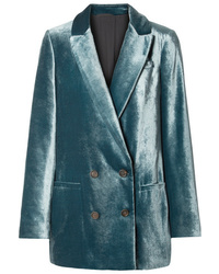 Blazer croisé en velours bleu canard Brunello Cucinelli
