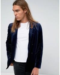 Blazer croisé en velours bleu