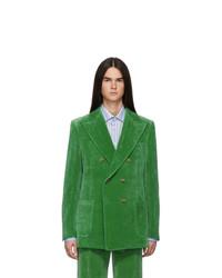 Blazer croisé en velours vert Gucci