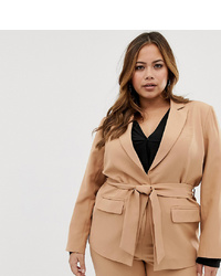 Blazer croisé marron clair Fashion Union Plus